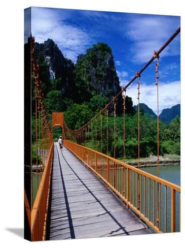 Footbridge Over Nam Sot River, Vang Vieng, Laos-Ryan Fox-Stretched Canvas Print