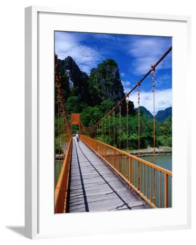 Footbridge Over Nam Sot River, Vang Vieng, Laos-Ryan Fox-Framed Art Print