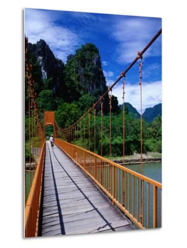 Footbridge Over Nam Sot River, Vang Vieng, Laos-Ryan Fox-Metal Print