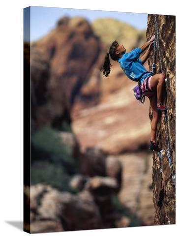 Woman Rock Climbing, CA-Greg Epperson-Stretched Canvas Print