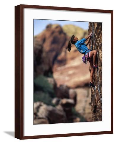 Woman Rock Climbing, CA-Greg Epperson-Framed Art Print