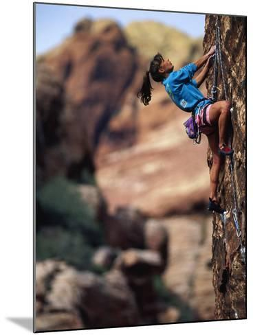 Woman Rock Climbing, CA-Greg Epperson-Mounted Photographic Print