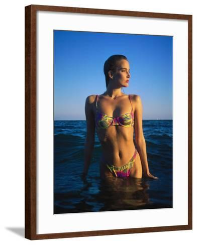 Young Woman Wearing Swimsuit on Beach in Water-David Marshall-Framed Art Print