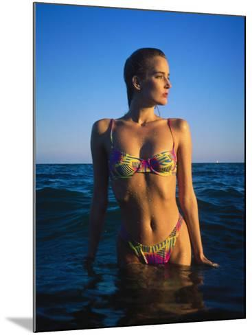 Young Woman Wearing Swimsuit on Beach in Water-David Marshall-Mounted Photographic Print