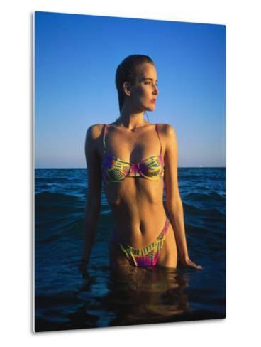 Young Woman Wearing Swimsuit on Beach in Water-David Marshall-Metal Print