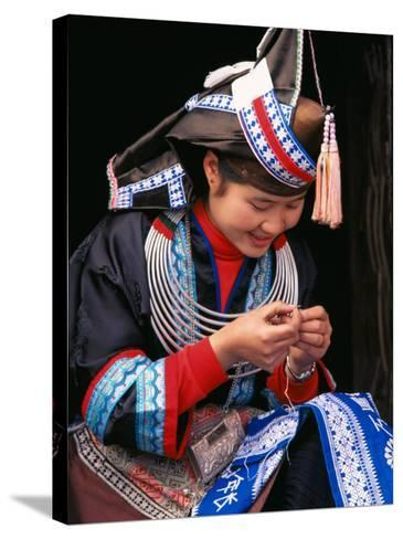 Tip-Top Miao Girl Doing Traditional Embroidery, China-Keren Su-Stretched Canvas Print