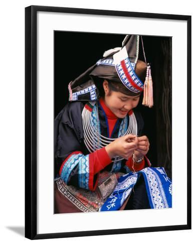 Tip-Top Miao Girl Doing Traditional Embroidery, China-Keren Su-Framed Art Print