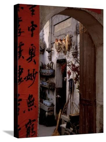 Courtyard of Huizhou-styled House with Calligraphy Couplet, China-Keren Su-Stretched Canvas Print