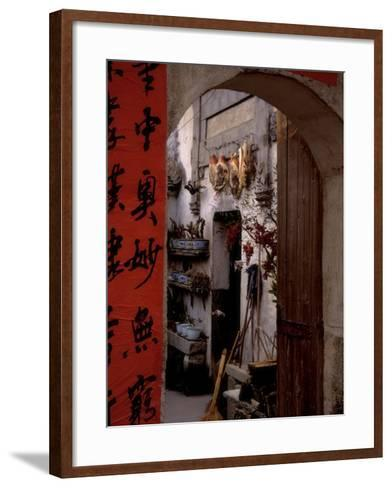 Courtyard of Huizhou-styled House with Calligraphy Couplet, China-Keren Su-Framed Art Print