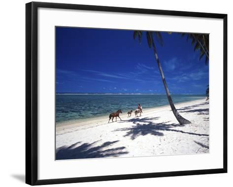 Horses on Beach, Tambua Sands Resort, Coral Coast, Fiji-David Wall-Framed Art Print