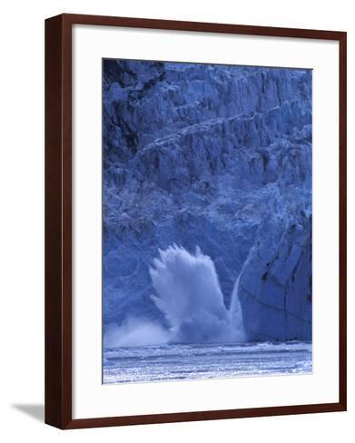 Ice Calves off Tidewater Surprise Glacier, Harriman Fjord, Prince William Sound, Alaska, USA-Hugh Rose-Framed Art Print