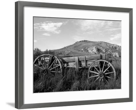 Old Wood Wagon near Mining Ghost Town at Bannack State Park, Montana, USA-John & Lisa Merrill-Framed Art Print