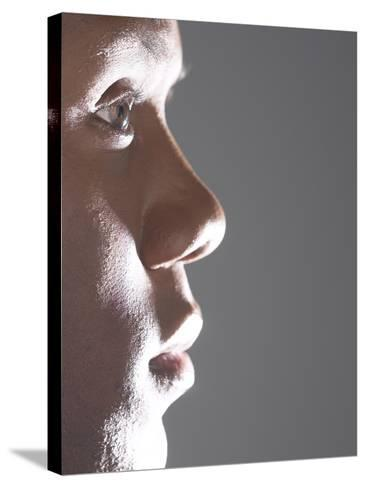 Profile of Man's Face--Stretched Canvas Print