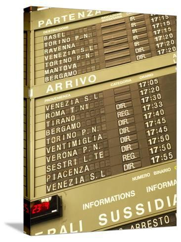 Electronic Train Schedule in Italian Langauge--Stretched Canvas Print