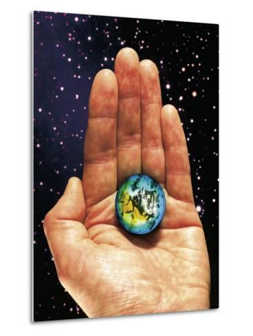 Hand Holding the World-Terry Why-Metal Print