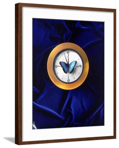 Butterfly on Top of Clock-Michelle Joyce-Framed Art Print