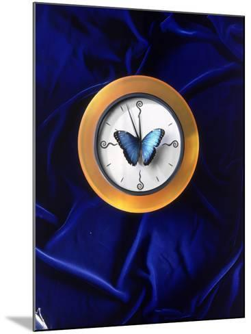 Butterfly on Top of Clock-Michelle Joyce-Mounted Photographic Print