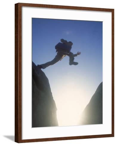 Business Man Leaping Across-Kevin Leigh-Framed Art Print