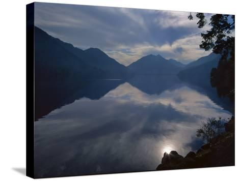 Rising Run Reflects in Lake Crecent, Olympic National Park, Washington, USA-Jerry Ginsberg-Stretched Canvas Print