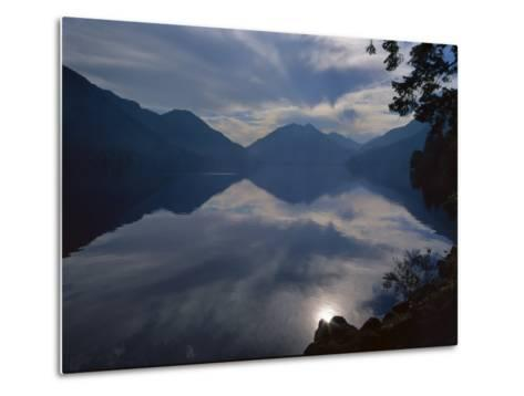 Rising Run Reflects in Lake Crecent, Olympic National Park, Washington, USA-Jerry Ginsberg-Metal Print