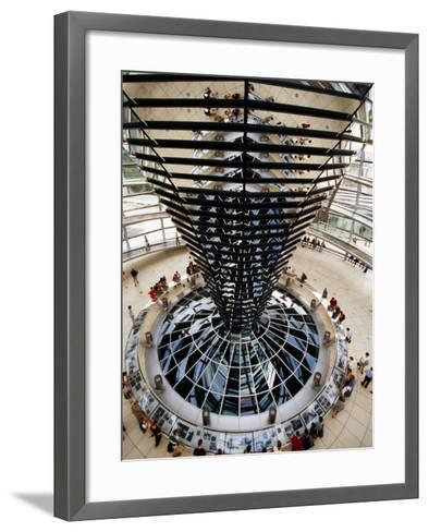 Overhead of Spiral Ramp and Mirrored Construction in Reichstag, Berlin, Germany-Martin Moos-Framed Art Print