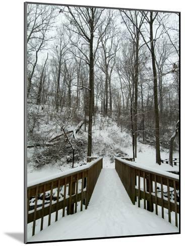 Snow Covered Wooden Bridge Over a Park Stream-Todd Gipstein-Mounted Photographic Print