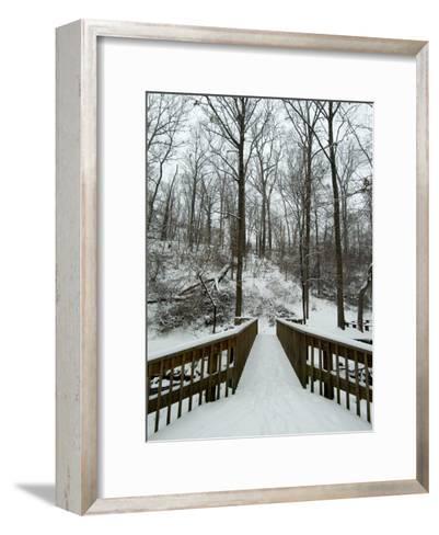 Snow Covered Wooden Bridge Over a Park Stream-Todd Gipstein-Framed Art Print