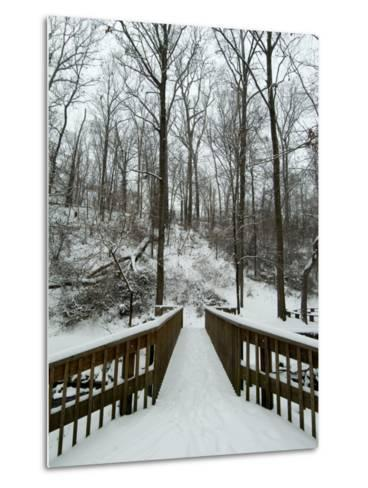 Snow Covered Wooden Bridge Over a Park Stream-Todd Gipstein-Metal Print