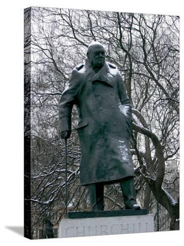 Snow is Seen on a Statue of the Late British Prime Minister Sir Winston Churchill-Matt Dunham-Stretched Canvas Print