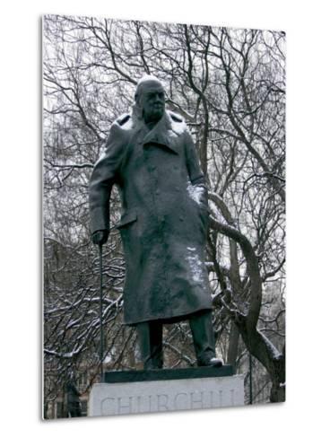 Snow is Seen on a Statue of the Late British Prime Minister Sir Winston Churchill-Matt Dunham-Metal Print