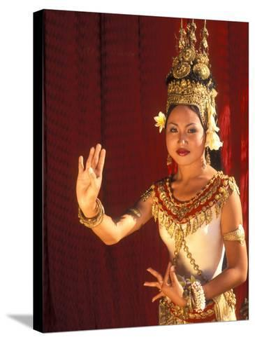Traditional Dancer and Costumes, Khmer Arts Dance, Siem Reap, Cambodia-Bill Bachmann-Stretched Canvas Print