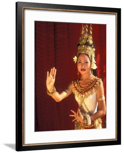 Traditional Dancer and Costumes, Khmer Arts Dance, Siem Reap, Cambodia-Bill Bachmann-Framed Art Print
