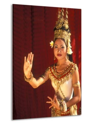 Traditional Dancer and Costumes, Khmer Arts Dance, Siem Reap, Cambodia-Bill Bachmann-Metal Print