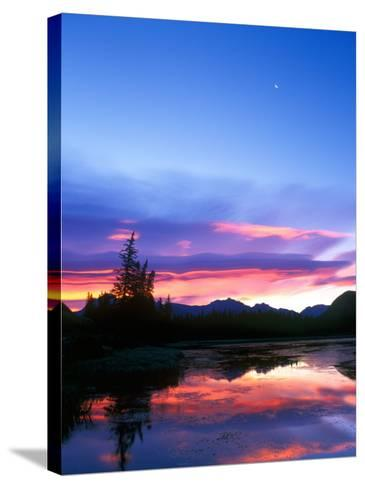 Crescent Moon Over Vermillion Lake in Banff National Park, Alberta, Canada-Rob Tilley-Stretched Canvas Print