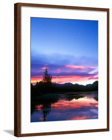 Crescent Moon Over Vermillion Lake in Banff National Park, Alberta, Canada-Rob Tilley-Framed Art Print