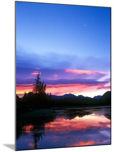 Crescent Moon Over Vermillion Lake in Banff National Park, Alberta, Canada-Rob Tilley-Mounted Photographic Print