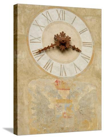 Clock Tower Detail in Hilltop Medieval Town, Bergamo, Italy-Lisa S^ Engelbrecht-Stretched Canvas Print