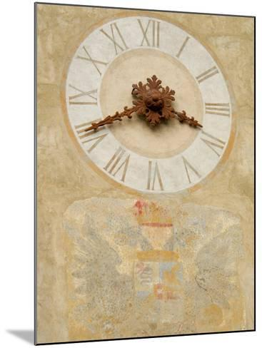 Clock Tower Detail in Hilltop Medieval Town, Bergamo, Italy-Lisa S^ Engelbrecht-Mounted Photographic Print