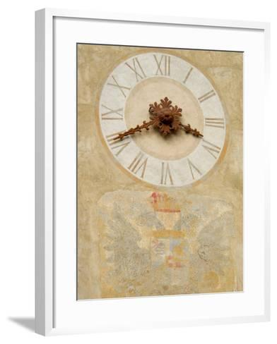 Clock Tower Detail in Hilltop Medieval Town, Bergamo, Italy-Lisa S^ Engelbrecht-Framed Art Print