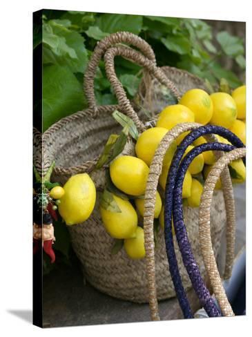 Handbag with Lemons, Positano, Amalfi Coast, Campania, Italy-Walter Bibikow-Stretched Canvas Print