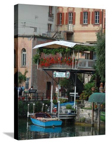 Lakeside Village Cafe, Lake Lugano, Lugano, Switzerland-Lisa S^ Engelbrecht-Stretched Canvas Print