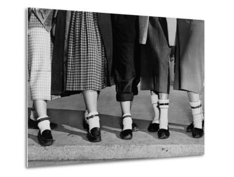 Legs and Feet with Dog Collar Anklets-Roger Higgins-Metal Print