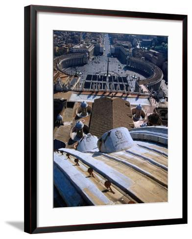 Unequalled View of Rome and Piazza San Pietro from Dome of St. Peter's Basilica, Vatican City-Glenn Beanland-Framed Art Print