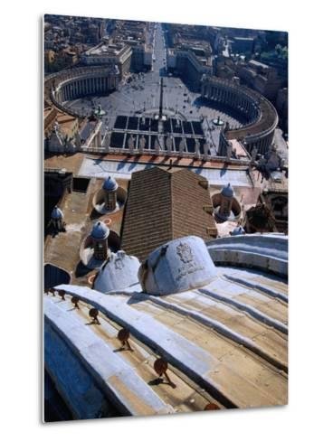 Unequalled View of Rome and Piazza San Pietro from Dome of St. Peter's Basilica, Vatican City-Glenn Beanland-Metal Print