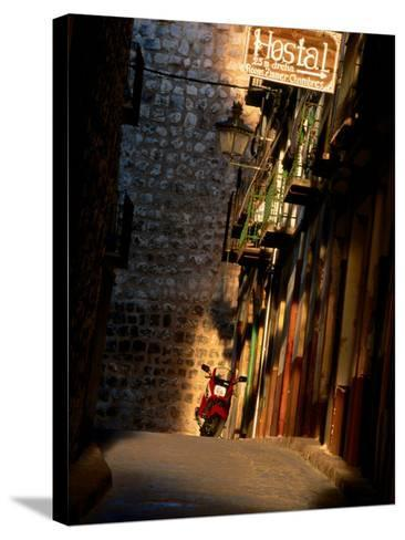 Street with Hostel Sign, Teruel, Spain-John Banagan-Stretched Canvas Print