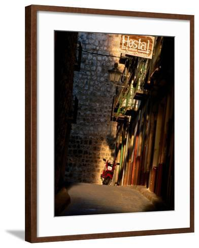 Street with Hostel Sign, Teruel, Spain-John Banagan-Framed Art Print