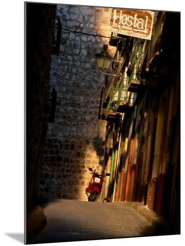 Street with Hostel Sign, Teruel, Spain-John Banagan-Mounted Photographic Print