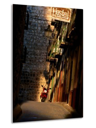 Street with Hostel Sign, Teruel, Spain-John Banagan-Metal Print