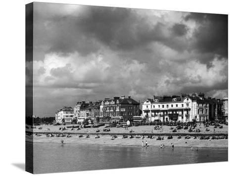 Storm Clouds Over the Promenade and the Beach from the Pier at Southsea Hampshire England--Stretched Canvas Print