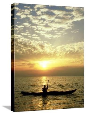 Sea Kayaker at Sunset, Greece-Paul Franklin-Stretched Canvas Print